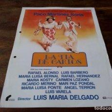Cinema: LA TÍA DE CARLOS - PACO MARTÍNEZ SORIA, LUIS BARBERO, MARÍA KOSTY - GUIA ORIGINAL FILMAYER 1982. Lote 224920166