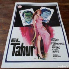 Cine: EL TAHÚR - AMPARO MUÑOZ, VICENTE FERNANDEZ, ALFREDO MAYO, JORGE RIVERO - GUIA ORIGINAL IZARO 1979. Lote 224984410