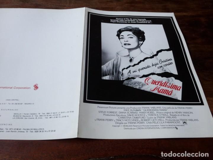 QUERIDÍSIMA MAMÁ - FAYE DUNAWAY, STEVE FORREST, DIANA SCARWID - GUIA ORIGINAL C.I.C 1981 (Cine - Guías Publicitarias de Películas )