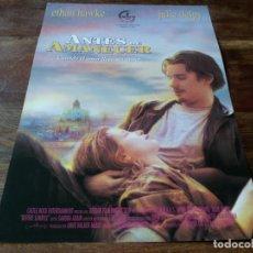 Cine: ANTES DE AMANECER - ETHAN HAWKE, JULIE DELPY - DIR. RICHARD LINKLATER - GUIA ORIGINAL FILMAYER 1995. Lote 278415908