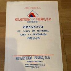 Cine: GUIA ATLÁNTIDA FILMS LISTA DE MATERIAL 1974 75 TORMENTO ANA BELEN.LA REVOLUCIÓN MATRIMONIAL. Lote 235293885