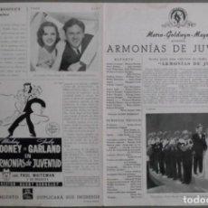 Cine: G7585D ARMONIAS DE JUVENTUD JUDY GARLAND MICKEY ROONEY BUSBY BERKELEY GUIA ORIGINAL MGM ESTRENO. Lote 236032425
