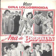 Cine: G6394D ANA DE BROOKLYN GINA LOLLOBRIGIDA GUIA ORIGINAL FILMAX ESTRENO. Lote 236057545