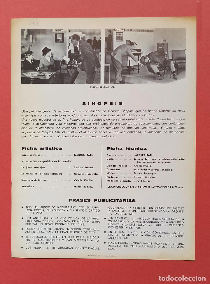 Cine: PLAYTIME. Jacques Tati. Guia original del estreno 1968 - Foto 2 - 242453925