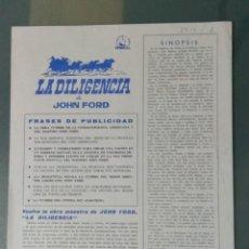 Cine: LA DILIGENCIA - GUIA PUBLICITARIA DE CINE. Lote 243911685