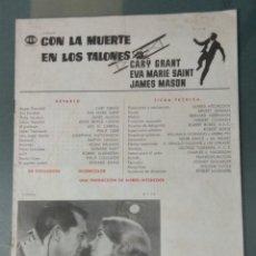 Cine: CON LA MUERTE EN LOS TALONES - GUIA PUBLICITARIA DE CINE. Lote 243912310