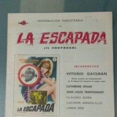 Cine: LA ESCAPADA - GUIA PUBLICITARIA DE CINE. Lote 243912705