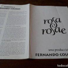 Cine: ROSA ROSAE - ANA BELEN, MARIA BARRANCO, FERNANDO COLOMO - GUIA ORIGINAL LUJO WARNER 1993. Lote 244600295