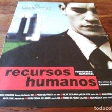 Cine: RECURSOS HUMANOS - JALIL LESPERT, JEAN-CLAUDE VALLOD, CHANTAL BARRE - GUIA ORIGINAL LUJO GOLEM 1999. Lote 244601195