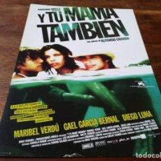 Cine: Y TU MAMÁ TAMBIÉN - MARIBEL VERDÚ, GAEL GARCÍA BERNAL, DIEGO LUNA - GUIA ORIGINAL WARNER 2001. Lote 245715315