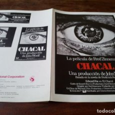 Cine: CHACAL - EDWARD FOX, MICHAEL LONSDALE, DEREK JACOBI, ALAN BADEL - GUIA ORIGINAL C.I.C 1973. Lote 245721010
