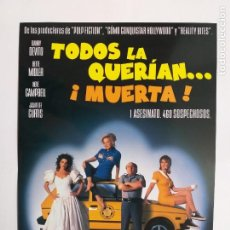 Cine: GUIA: TODOS LA QUERIAN...MUERTA!. NICK GOMEZ, DANNY DEVITO , BETTE MIDLER. Lote 248508995