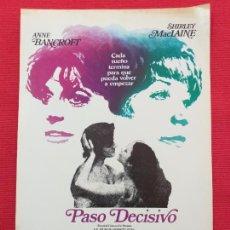 Cine: GUIA PUBLICITARIA ORIGINAL: PASO DECISIVO. SHIRLEY MACLAINE, ANNE BANCROFT. Lote 253944705