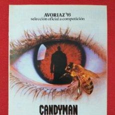 Cine: GUIA: CANDYMAN, EL DOMINIO DE LA MENTE. CON: VIRGINIA MADSEN, TONY TODD.. Lote 254773790