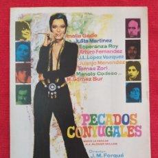 Cine: GUIA PUBLICITARIA ORIGINAL DE LA PELÍCULA: PECADOS CONYUGALES. DIRECTOR JOSÉ MARÍA FORQUÉ (1969). Lote 257498960