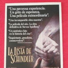 Cine: GUIA PUBLICITARIA DOBLE: LA LISTA DE SCHINDLER. STEVEN SPIELBERG. Lote 263157760