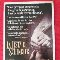 Cine: GUIA PUBLICITARIA DOBLE: LA LISTA DE SCHINDLER. STEVEN SPIELBERG. Lote 264570014