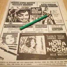 Cine: UNA HORA EN LA NOCHE , UN REY PARA CUATRO REINAS - ANTIGUO ANUNCIO DE CINE 11/12/73 - RECORTE DE PER. Lote 266453913