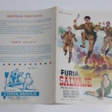 Cinema: ANTIGUA GUIA PUBLICITARIA CINE FURIA SALVAJE MONTALBAN G154 RV. Lote 267845849