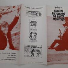 Cinema: ANTIGUA GUIA PUBLICITARIA CINE CUATRO PISTOLEROS DE SANTA TRINIDAD G221 RV. Lote 268273819