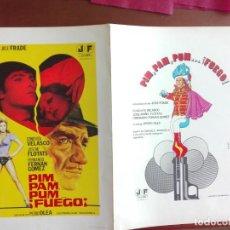 Cine: JMFC - DIPTICO FICHA TECNICA PELICULA PIM, PAM, PUM FUEGO - JOSE FRADE. Lote 269187730