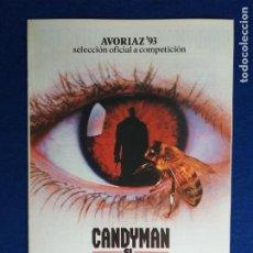 Cine: GUIA. 8 PÁGINAS. CANDYMAN, EL DOMINIO DE LA MENTE. CON: VIRGINIA MADSEN, TONY TODD.. Lote 274229018