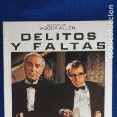 Cine: GUIA PUBLICITARIA: DELITOS Y FALTAS. 8 PAGINAS. CON: WOODY ALLEN, MIA FARROW.. Lote 274415328