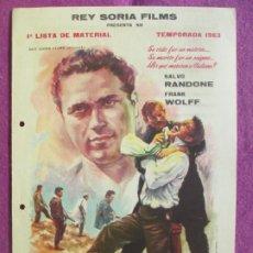 Cine: GUIA PUBLICITARIA CINE SALVATORE GIULIANO EL MISTERIO DE LA MALETA NEGRA LISTA MATERIALG1039. Lote 276775108
