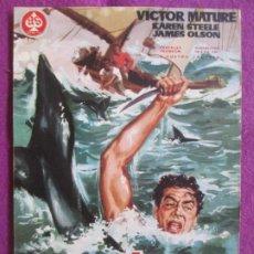Cine: GUIA PUBLICITARIA CINE COSTA DE TIBURONES VICTOR MATURE KAREN STEELE G1042. Lote 276776023