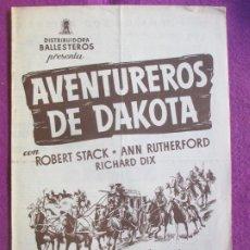 Cine: GUIA PUBLICITARIA CINE AVENTUREROS DE DAKOTA ROBERT STACK ANN RUTHERFORD G1050. Lote 276777918