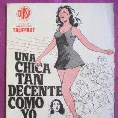 Cinema: GUIA PUBLICITARIA CINE UNA CHICA TAN DECENTE COMO YO BERNADETTE LAFONT CLAUDE BRASSEUR G1079. Lote 277586158