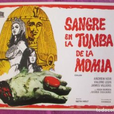 Cine: GUIA PUBLICITARIA CINE SANGRE EN LA TUMBA DE LA MOMIA ANDREW KEIR VALERIE LEON G1090. Lote 277592648