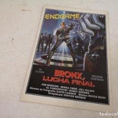 Cinéma: GUÍA O CARTEL DE CINE, BRONX, LUCHA FINAL, J. F. FILMS, UNOS 31 X 22 CMS. SERIE B. Lote 287149868