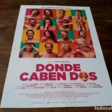 Cinema: DONDE CABEN DOS - MARIA LEON, RAUL AREVALO, ANNA CASTILLO, LUIS CALLEJO - GUIA ORIGINAL FILMAX 2021. Lote 287918483