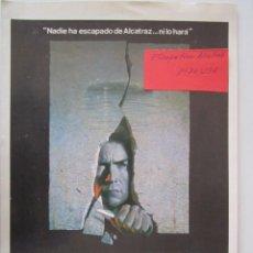 Cine: CARTEL DE CINE DE 20X30 DE FUGA DE ALCATRAZ DE DON SIEGEL CON CLINT EASTWOOD. Lote 289446923