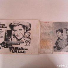 Cine: 2 CARTELITOS DE CINE DE FURIA EN EL VALLE CON GLENN FORD Y SHIRLEY MCLAINE. Lote 289448498
