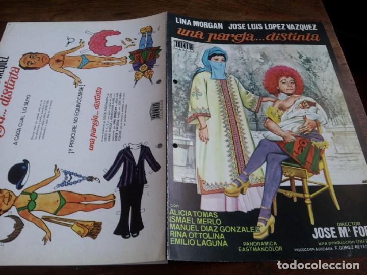 UNA PAREJA... DISTINTA - LINA MORGAN, JOSÉ LUIS LÓPEZ VÁZQUEZ - GUIA ORIGINAL MERCURIO 1974 JANO (Cine - Guías Publicitarias de Películas )