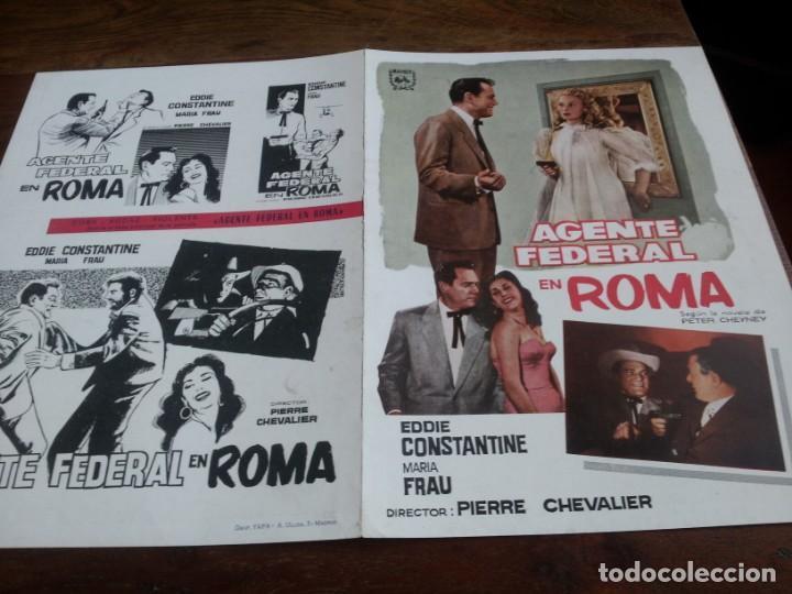 AGENTE FEDERAL EN ROMA - EDDIE CONSTANTINE, MARIA FRAU, FRANÇOIS PERROT - GUIA ORIGINAL MAHIER 1959 (Cine - Guías Publicitarias de Películas )