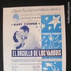 Cine: GARY COOPER-EL ORGULLO DE LOS YANQUIS-GUIA PUBLICIDAD CINE-VER FOTOS-(V-22.960). Lote 295363363