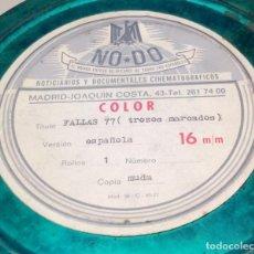 Cine: ROLLO DE PELICULA GRABACION CASERA - FALLAS 1977 VALENCIA - 16 M/M - LATA METALICA NODO. Lote 118424575