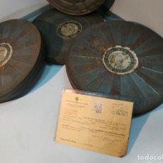Cine: ROLLOS DE LATA PELICULA ANTIGUOS CINE CON CINTA NEGATIVO EN INTERIOR LOS PISTOLEROS DE CASA GRANDE. Lote 199086891