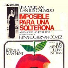 Cine: PELÍCULA LARGOMETRAJE DE CINE EN 35MM IMPOSIBLE PARA UNA SOLTERONA (1976). Lote 245240110