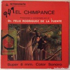 Cine: PELÍCULA CORTOMETRAJE SÚPER 8MM, EL CHIMPANCÉ, DE FÉLIX RODRÍGUEZ DE LA FUENTE. Lote 179220995