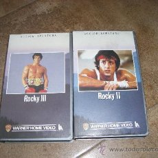 Cine: DOS PELICULAS VHS ROCKY III Y BETA ROCKY II 1984 WARNER HOME VIDEO . Lote 26429465