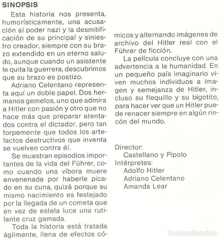 Cine: MI QUERIDO HITLER - ADRIANO CELENTANO, AMANDA LEAR - ITALIANA • RARA - REGALO MONTAJE A DVD DUAL - Foto 2 - 127665128