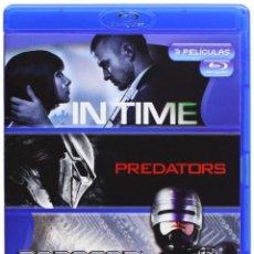 Cine: IN TIME + PREDATORS + ROBOCOP BLURAYS - ESTUCHE DESPRECINTADO Y DISCOS A ESTRENAR. Lote 141835602