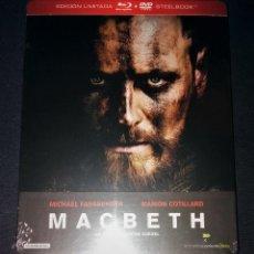 Cine: MACBETH EDICIÓN STEELBOOK METÁLICA BLU-RAY + DVD + POSTALES MICHAEL FASSBENDER MARION COTILLARD. Lote 146963418