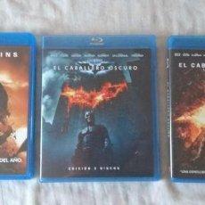 Cine: PACK BLU RAY TRILOGIA EL CABALLERO OSCURO: BATMAN BEGINS + EL CABALLERO OSCURO + LA LEYENDA RENACE. Lote 168962068