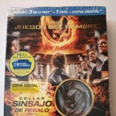 Cine: LOS JUEGOS DEL HAMBRE,COMBO 3 BLU-RAY+1DVD+COPIA DIGITAL(COLLAR SINSAJO REGALO)EDICIÓN DESCATALOGADA. Lote 175464527