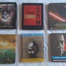 Cine: LOTE 6 STEELBOOK BLU RAY (STAR WARS, PLANETA SIMIOS, DJANGO, GLADIATOR, EQUALIZER, RASCACIELOS). Lote 176077939